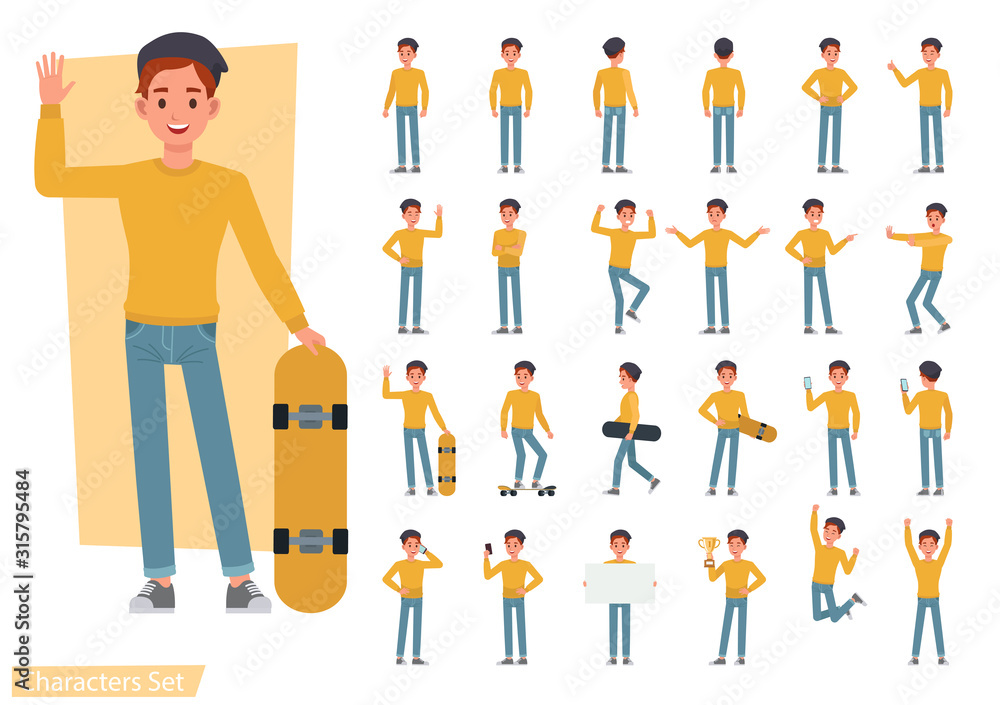 Obraz Set of man wear yellow shirt character vector design. Presentation in various action with emotions, running, standing and walking. fototapeta, plakat