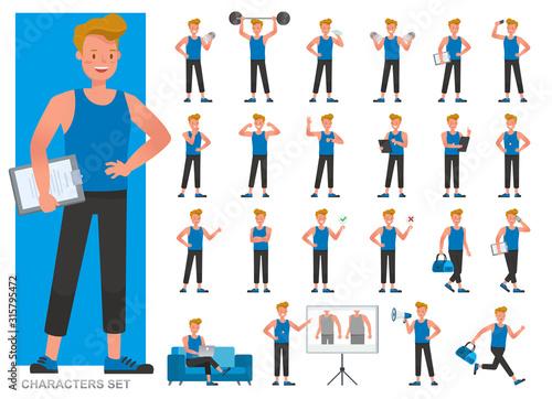 Set of Fitness trainer character vector design Billede på lærred