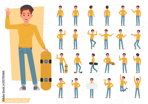 Fototapeta Set of man wear yellow shirt character vector design. Presentation in various action with emotions, running, standing and walking. obraz