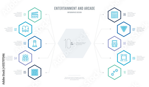 entertainment and arcade concept business infographic design with 10 hexagon options Canvas Print