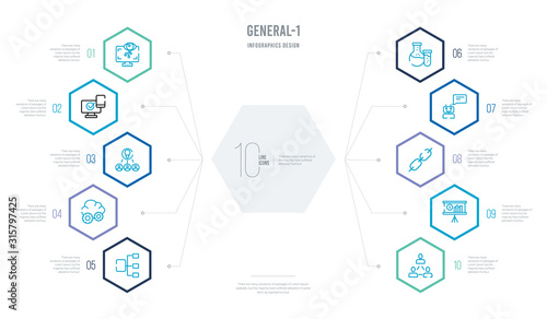 Photo general-1 concept business infographic design with 10 hexagon options