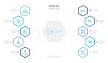 Interface Concept Business Infographic Design With 10 Hexagon Options. Outline Icons Such As X Mark, Hide, Fullscreen, Left, Disable, Down