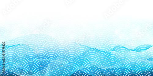 Fototapeta 波 海 和紙 背景 obraz