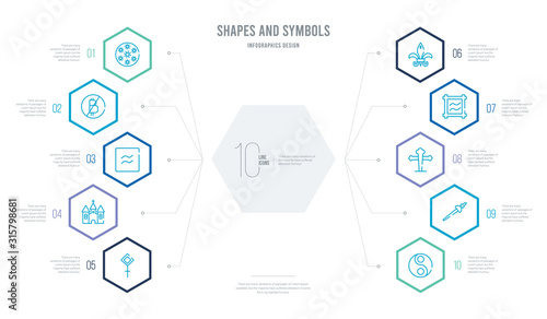 shapes and symbols concept business infographic design with 10 hexagon options Wallpaper Mural