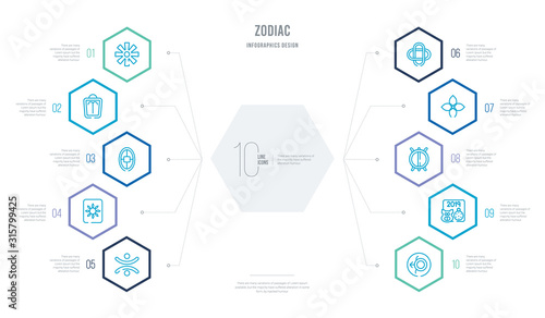 zodiac concept business infographic design with 10 hexagon options Canvas Print