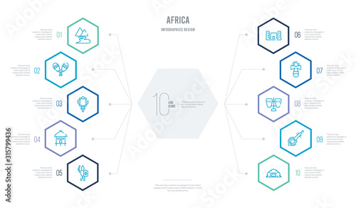 africa concept business infographic design with 10 hexagon options Canvas Print