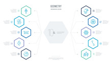 Geometry Concept Business Infographic Design With 10 Hexagon Options. Outline Icons Such As Lightning Bolt Polygonal, Line Segment, Metatron Cube, Multiple Triangles Inside Hexagon, Multiple
