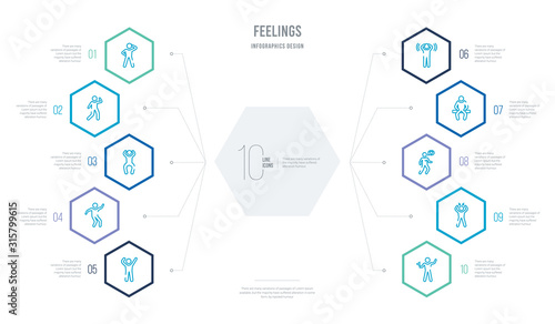 feelings concept business infographic design with 10 hexagon options Canvas Print