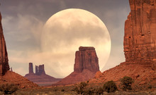 Full Moon Rising On It's Perigee In Monument Valley