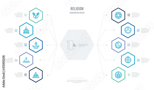 religion concept business infographic design with 10 hexagon options Canvas Print