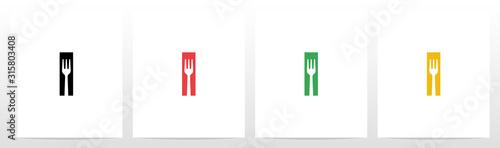 Carta da parati Fork On Letter Logo Design I