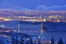 Lions Gate Bridge And Downtown...