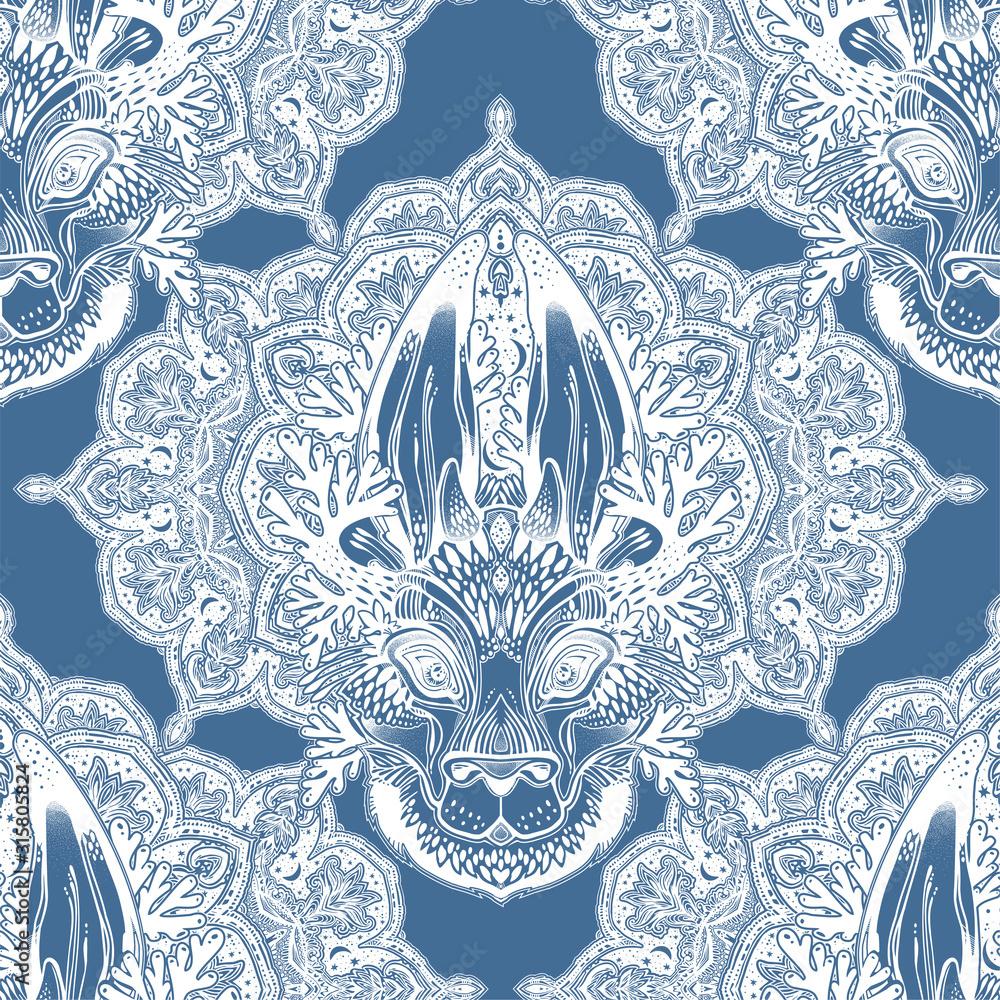 Folk magic jackalope beast with sacred geometry stars and moon ornament seamless pattern.