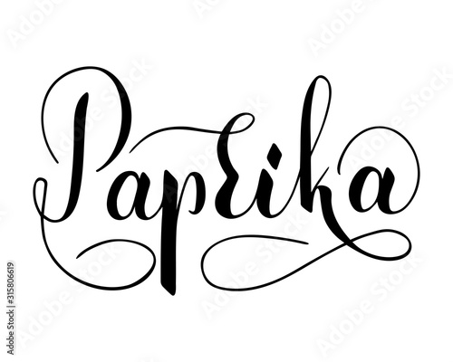 Fotografía  Vector hand written paprika text isolated on white background