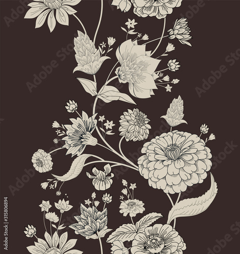 Vászonkép Floral seamless original pattern in vintage paisley style