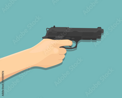 Hand holding and pointing a gun - vector illustration. Canvas Print