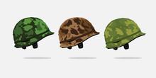 Set Of Army Helmet Vector. Army Helmet Icon. Army War Helmet. Military Helmet