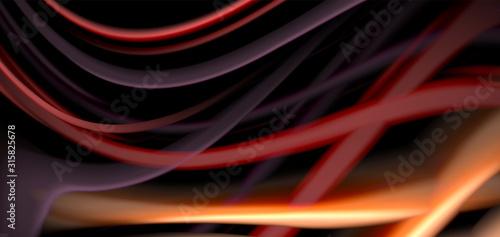 Obraz Abstract silk smooth lines on black, multicolored liquid fluid rainbow style waves on black - fototapety do salonu