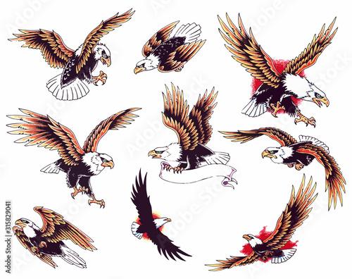 Eagle oldskool tattoo set Canvas