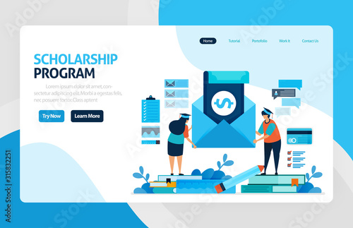 Fototapeta vector illustration of scholarship education program, learning abroad. financial funds and study loans for education. academic achievements, school cost. for banner, web, website, mobile apps, flyer obraz