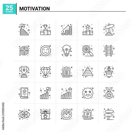 25 Motivation icon set. vector background Wallpaper Mural