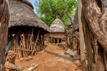 Fantastic Walled Village Tribes Konso. African Village. Africa, Ethiopia. Konso Villages Are Listed As UNESCO World Heritage Sites.
