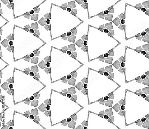 Grey black and white vintage kaleidoscope seamless Billede på lærred
