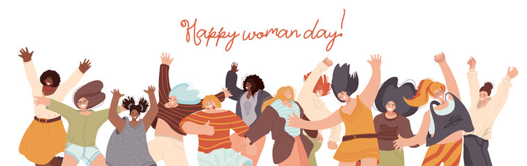 Vector flat collection of Happy Multiracial Woman illustration, dancing and jumping with joy, cheer, happiness. Woman day concept with different race woman. Unity, frendship and sisterhood concept.