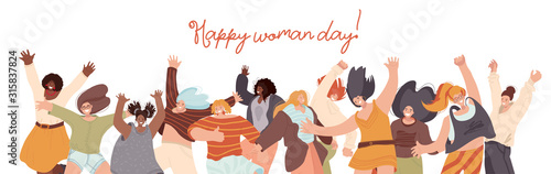 Obraz Vector flat collection of Happy Multiracial Woman illustration, dancing and jumping with joy, cheer, happiness. Woman day concept with different race woman. Unity, frendship and sisterhood concept. - fototapety do salonu