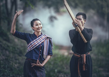 Thai Traditional Dance According To The Rhythm Of Music By Traditional Northeastern Reed Mouth Organ Performance