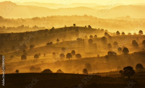 Fototapeta Amazing mountain landscape with sunrise, natural outdoor travel background. Beauty world. obraz