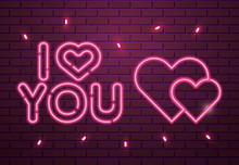 I Love You Lettering Of Neon L...