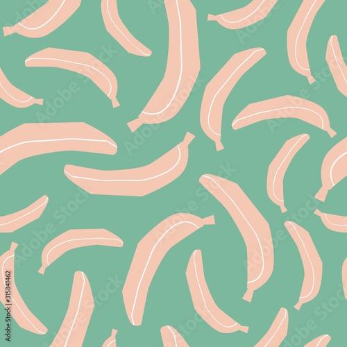 Banana Seamless Pattern. Fruits Print Handmade Style. Vector Textile Pattern with Bananas. - 315841462