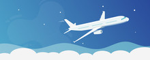Flying Airplane In Clear Blue Sky Design Concept - Flat Vector Illustration.