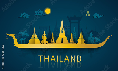 Thailand travel illustrator: famous landmarks and tourist attraction of Thailand Wallpaper Mural
