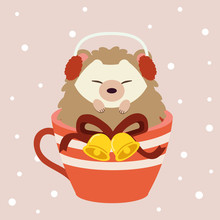 The Character Of Cute Hedgehog Sitting In The Big Red Cup On The Pink Backgrouns With Snow. The Cute Hedgehog Wear A Earmuffs And Have Bell And Ribbon On The Cup. The Cute Hedgehog In Flat Vector.