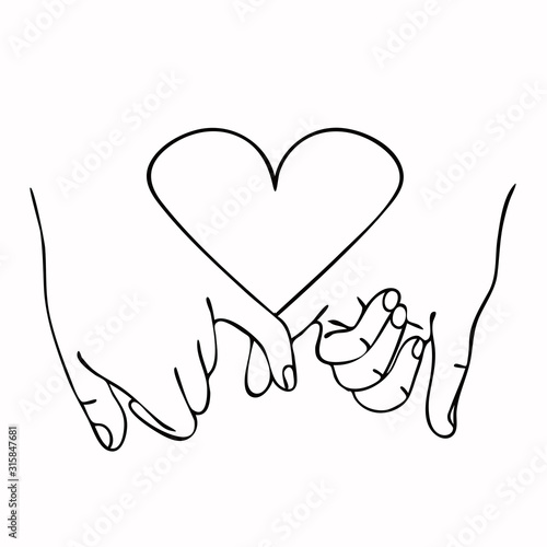 Fototapeta Promise  outline vector with  heart concept