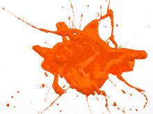 Orange Paint Spot Isolated On White