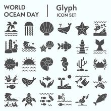 World Ocean Day Glyph Icon Set...