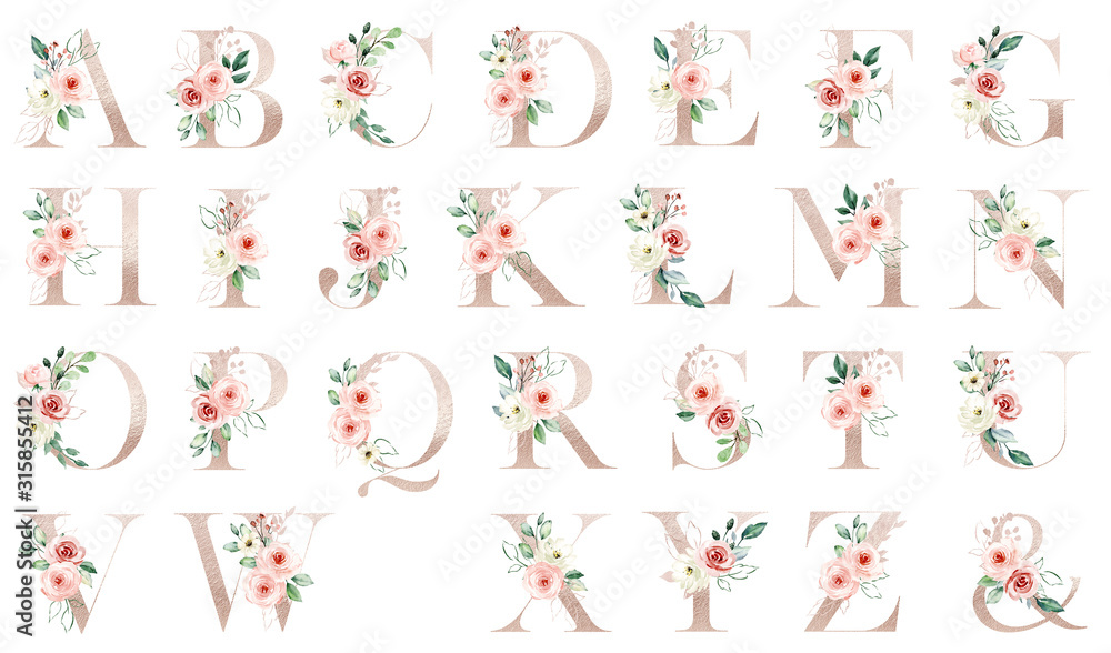 Fototapeta Letters set, gold floral alphabet with watercolor flowers peach roses and leaf. Monogram initials perfectly for wedding invitation, greeting card, logo, poster. Holiday decoration hand painting.