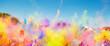 Leinwanddruck Bild - Crowd throwing bright colored powder paint in the air at Holi Festival Dahan
