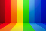 Fototapeta Rainbow - Abstract rainbow gradient multi colors of scene background with perspective room. Summer multi colors pattern backdrops. 3D rendering.