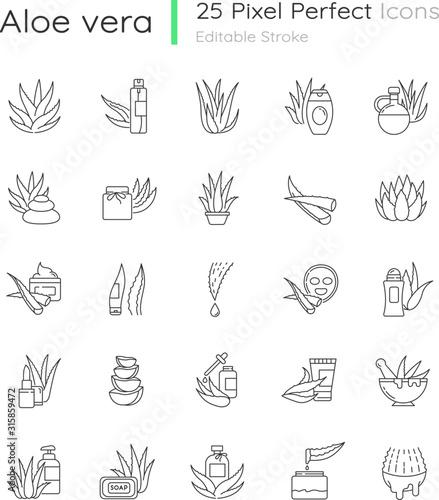 Aloe vera pixel perfect linear icons set Canvas Print