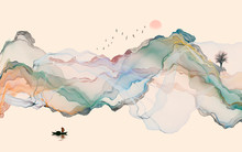 Hand-painted Lines, Abstract Ink Landscape Decorations, Art Poster Background
