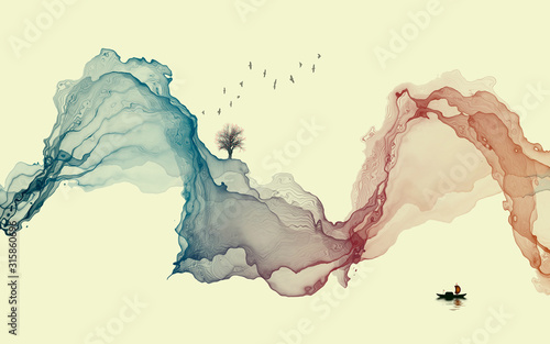 Obrazy do łazienki  hand-painted-lines-abstract-ink-landscape-decorations-art-poster-background
