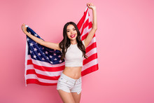 Portrait Of Her She Nice-looking Attractive Charming Lovely Slender Fit Slim Thin Cheerful Cheery Wavy-haired Girl Posing With USA Flag Isolated Over Pink Pastel Color Background