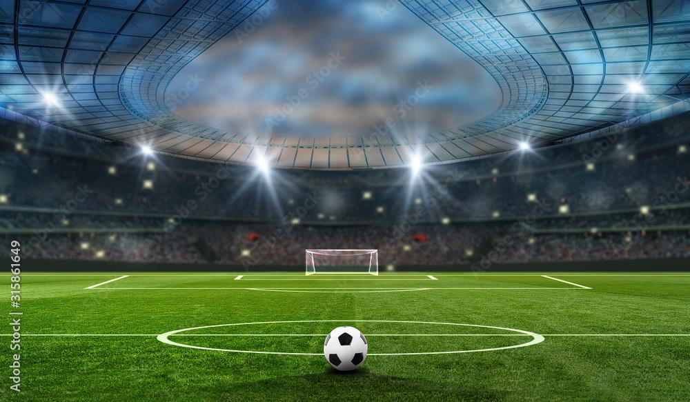 piłka na zielonym polu na stadionie piłkarskim. gotowy do gry w środku pola