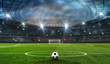 Leinwandbild Motiv ball on the green field in soccer stadium. ready for game in the midfield