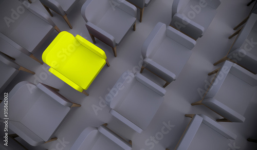 Obraz Concept or conceptual yellow armchair standing out in a  conference room as a metaphor for leadership, vision and strategy. A 3d illustration of individuality, creativity and achievement - fototapety do salonu