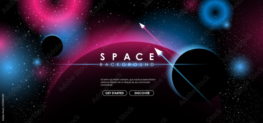 Fototapeta Creative space background with abstract shape and planets. Colorful space poster with text template. Vector infinite Galaxy background.